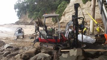 Drilling Of Pile Holes For New Beach Access Staircase In Tidal Environment