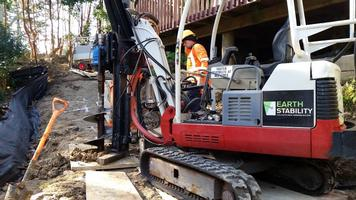 Restricted Access Drilling Of Pile Holes For Retaining Wall